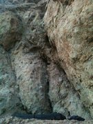 Rock Climbing Photo: New boulder problem im working on right by my hous...
