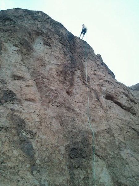Me on top of Number 2 at Boulder Beach Area at lake mead. I was just starting to clip in to rap down and a freak storm hit and it rained a crazy amount in a few minutes. My fastest 65-70 ft rap ever!