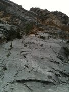 Rock Climbing Photo: Unknown route on Imagination wall, right slab. Fun...