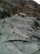 Rock Climbing Photo: Same unknown route on right wall, maybe 60ft to ch...