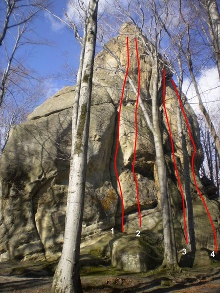 Rock Climbing Photo: 1 - Mein Kampf. 2 - Kushnir bank. 3 - Begovuha. 4 ...