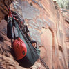 """Terry at a bivy, 2 pitches below the top...""""rise and shine"""""""