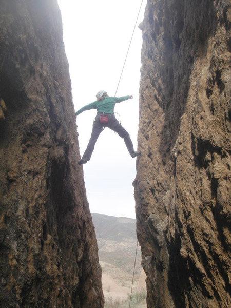 Rock Climbing Photo: Pam stemming up Corvus Chimney. Taken from inside ...