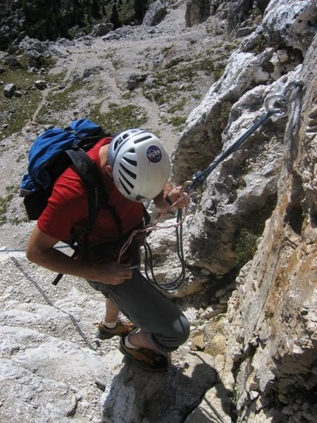 One of a couple available rappels on the Chamois Terrace trail between the Second Sella Tower and the Piz Ciavazes