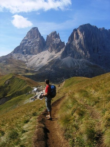 Hiking below the Chamois Terrance trail back towards Sella Pass.  The Langkofel (Sassolungo) in the distance.