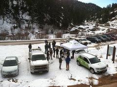 Rock Climbing Photo: Volunteers begin to gather.