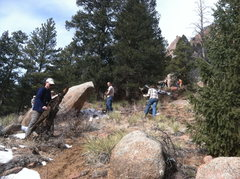 Rock Climbing Photo: Cutting the new trail and slashing the old.