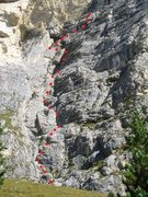 Rock Climbing Photo: The Via Rossi Tomasi route approximate location