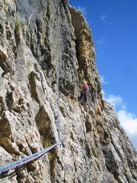 Belay stance at the end of Pitch 7 of Via Rossi - Tomasi