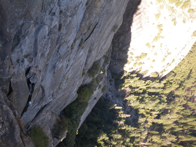 Rock Climbing Photo: George M. in the brief but exciting chimney on P3 ...