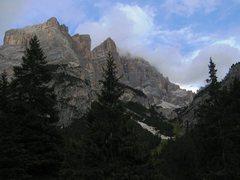 Rock Climbing Photo: Cima Scotoni (just left of center) from Sass Dlaci...