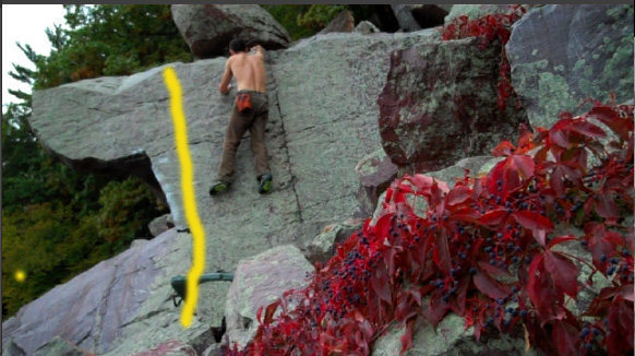 Rock Climbing Photo: The yellow line.  I am on the easy topout (as for ...
