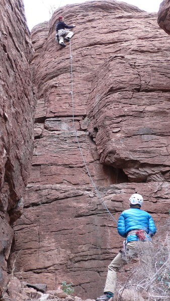 Rock Climbing Photo: AMH on an early ascent, Hanna belaying, photos by ...