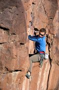 Rock Climbing Photo: Setting the feet for the bouldery crux. January 20...