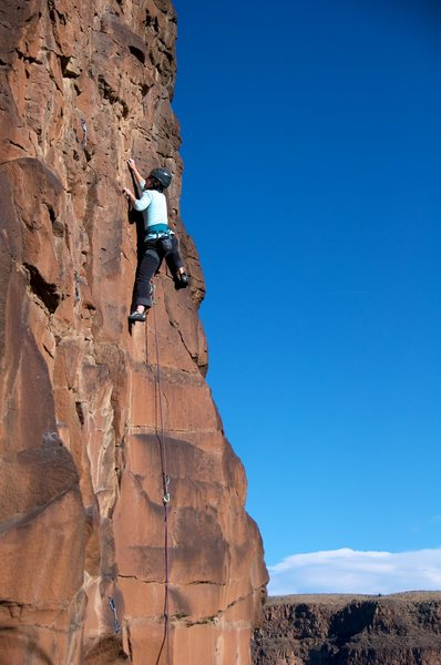 Rock Climbing Photo: Above the smooth face (with great crimps). January...