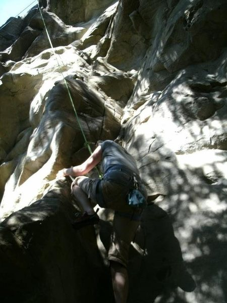 Rock Climbing Photo: A friend starting up Rat Poo Poo.