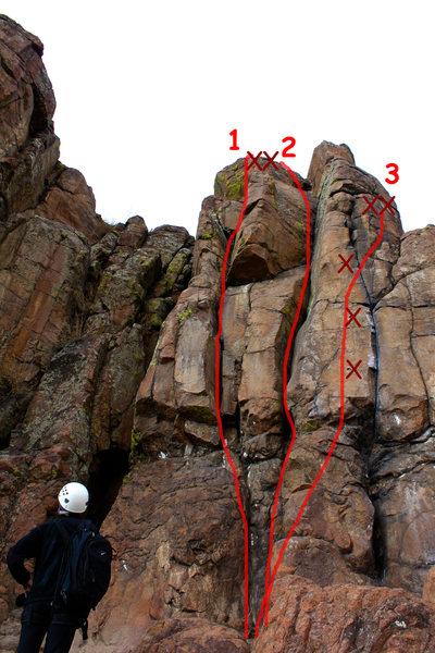Rock Climbing Photo: 1 - Nader, 5.7. 2 - Wazup?, 5.8+. 3 - Mini Me, 5.1...