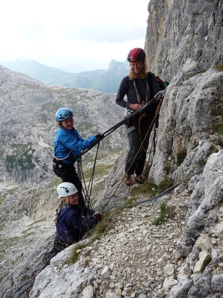 Climbing with and around a German family. Dad was on the lead without a belay, them mom and the two girls scrambled up behind.  Great family outing.