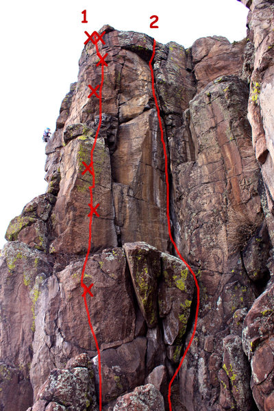 1 - &quot;Unknown bolt line&quot; (Over The Top), 5.10.<br> 2 - No Manners, 5.9-.