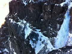 Rock Climbing Photo: Colin Simon high and high on the high last pitch o...
