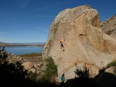 Rock Climbing Photo: Kissed by the Sun (5.9), Lake Perris SRA