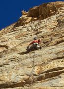 Rock Climbing Photo: Alex cruises along - The Bat (5.11)