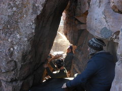 Rock Climbing Photo: Sam getting ready to start. The Quarry path is vis...