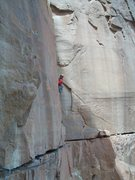 Rock Climbing Photo: Cleaning things up a touch for the send.