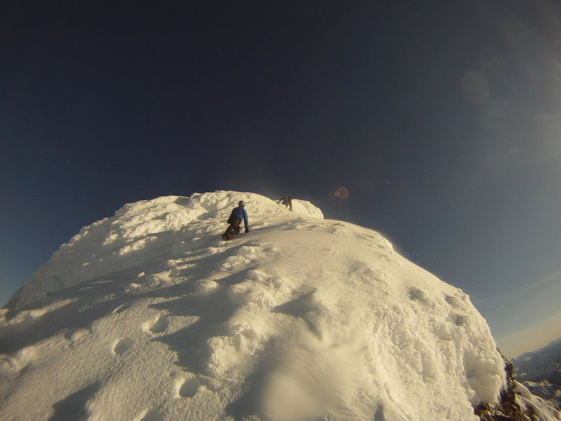 Rock Climbing Photo: Climbers on Shuksan summit pyramid (northeast rib)...
