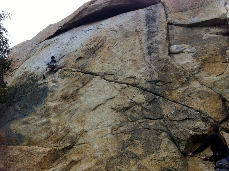 Philipp getting ready for the crux at the roof