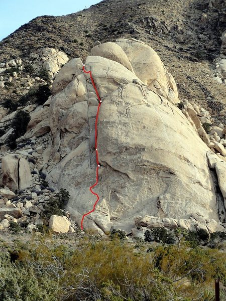 Rock Climbing Photo: Approximate topo of our 4 pitches on Right On. Cut...