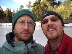 Rock Climbing Photo: Danny Basch and I  -Estes Park pond, CO 1/15/2012
