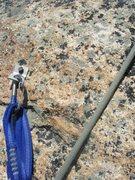 Rock Climbing Photo: Beckey bolt at crux of pitch nine. Take!?