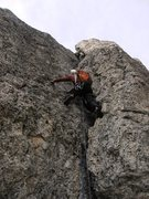 Rock Climbing Photo: Final pitch on the Sass de Stria's Spigolo Sud