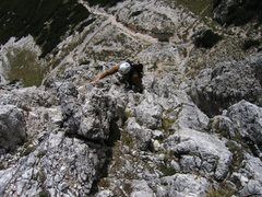 Rock Climbing Photo: Scrambling up the first pitch on the South Rib of ...