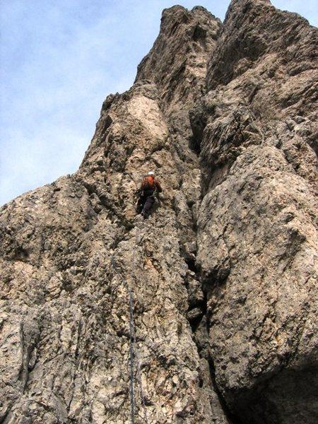 Rock Climbing Photo: Third pitch of Spigolo Sud on the Sass de Stria