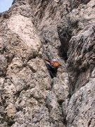 Rock Climbing Photo: Chimney up high on the third pitch of the Hexenste...