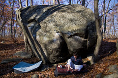 Rock Climbing Photo: Steve Briggs and the Tuolumne Boulder.  Getting re...