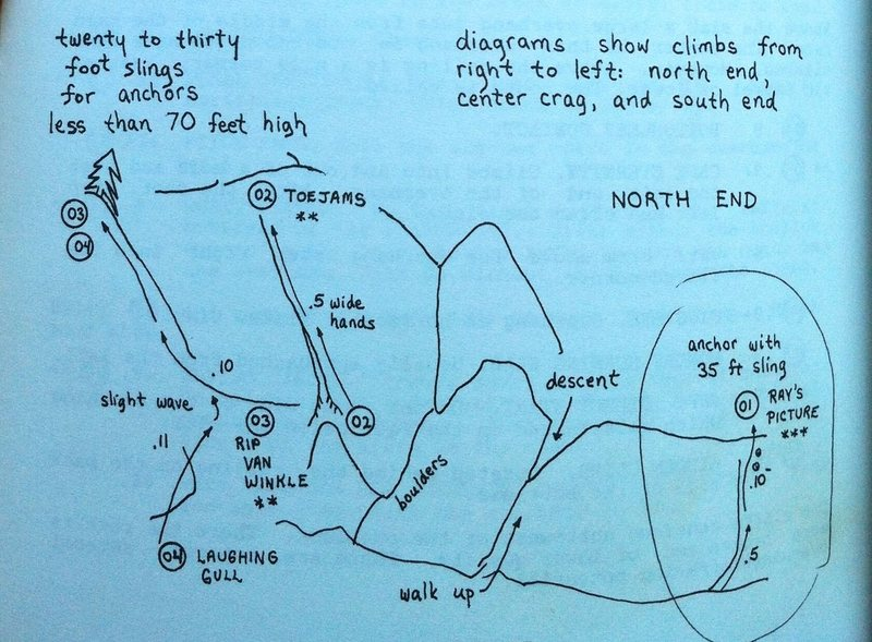 Old school Topo of the Northend of Redrock for the original edition of Boston Rocks.
