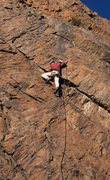 Rock Climbing Photo: Alex not getting baked at the crux of Sunbaked (5....