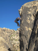 Rock Climbing Photo: Mike Newheart nearing the anchors, one more tricky...