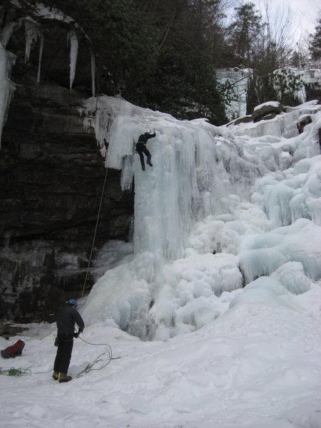 Climbers toproping Glen Onoko Lower Falls.