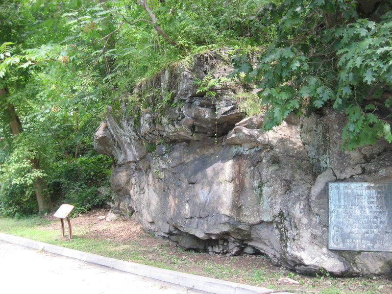The Forbidden Boulder, with the Battle of Germantown plaque showing on the right.