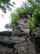 Rock Climbing Photo: Anna near the top of No Self Control.