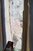Rock Climbing Photo: Doug Maddux entering the cave