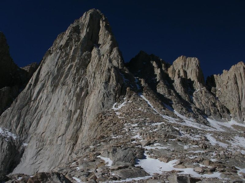 Rock Climbing Photo: Whitney's summit and our first view of the mountai...