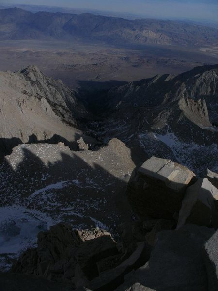 Looking back down at the Whitney portal from the summit