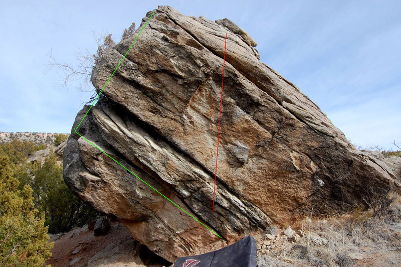 South face of Lost Boulder. Green = Dorsal Love/ Red= Wandering Star