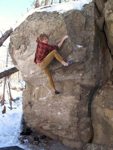 Rock Climbing Photo: Grady making delicate moves through the loose rock...