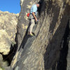 Owen on Mojave Green Arete making the second of three clips.